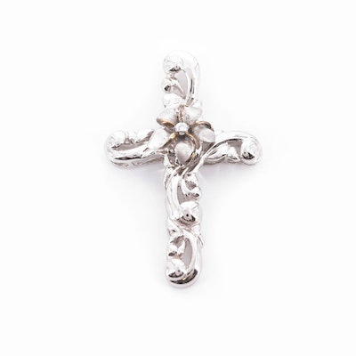 Sterling Silver Cubic Zirconia Articulated Flower Cross Pendant