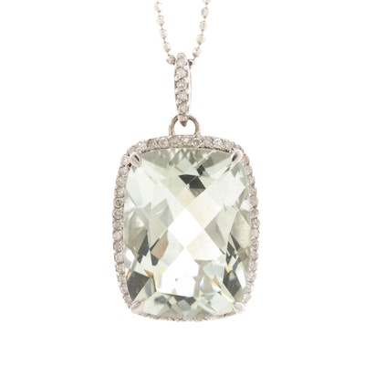 Sterling Silver Praseolite and Diamond Pendant Necklace