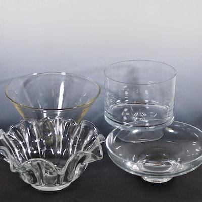 Glass Serveware Including Handkerchief Bowl