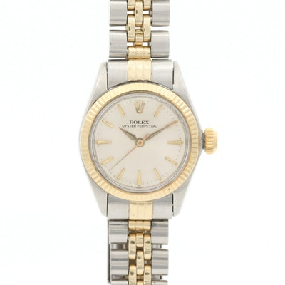 Vintage Rolex Oyster Perpetual Stainless Steel and 14K Gold Wristwatch, 1967