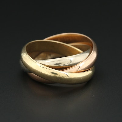 Cartier 18K Tri-Gold Trinity Ring