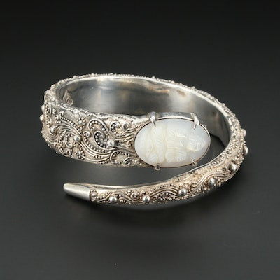 950 Silver Mother Of Pearl Open Ended Bangle Bracelet
