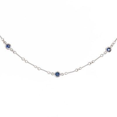 "Roberto Coin ""Dog Bone Chain"" 18K White Gold Sapphire Station Necklace"