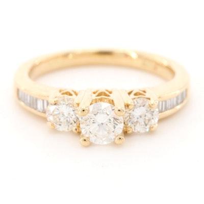 "14K Yellow Gold Diamond ""Past, Present, Future"" Ring"