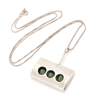 Modernist Sterling Silver Chalcedony Pendant Necklace