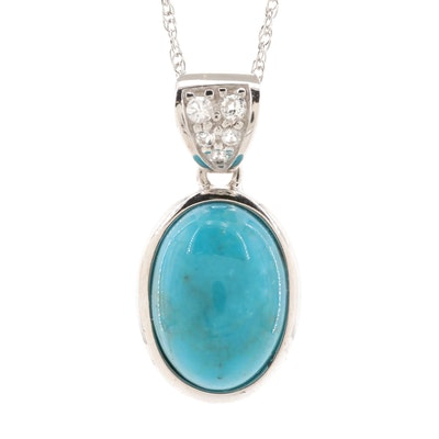 Sterling Silver Turquoise and Topaz Pendant Necklace