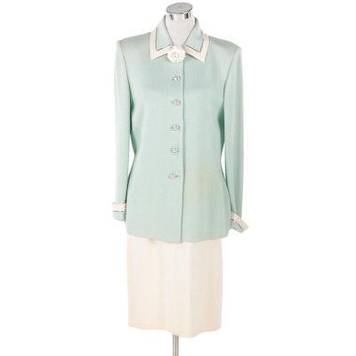St. John Evening Mint Green and St. John Basics Cream-Colored Knit Skirt Suit