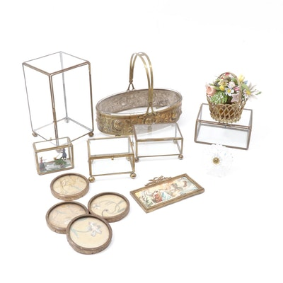 Brass & Glass Display Boxes & Assorted Vintage Decor