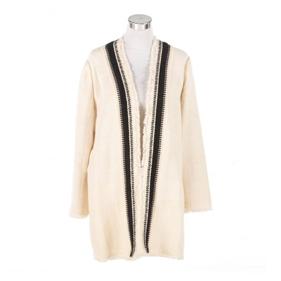 Chico's Fringed Woven Cotton Blend Jacket in Ivory with Black Contrast Trim