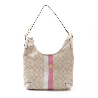 Coach Tan Heritage Stripe Hobo Bag