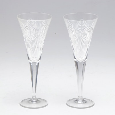 """Waterford Crystal Millennium Series """"Happiness"""" Champagne Toasting Flutes"""
