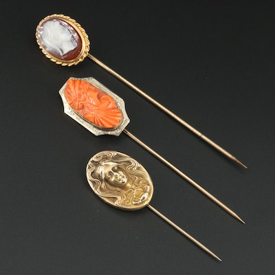 Vintage 10K Yellow Gold Stick Pins with Coral, Sardonyx and Figural Motif