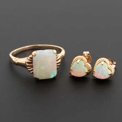 Vintage 10K Yellow Gold Opal Heart Earrings and Ring