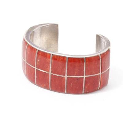 Mary Morgan and Roland Long Handmade Navajo Sterling Silver Coral Cuff Bracelet