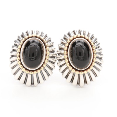 Lagos Sterling Silver Black Onyx Earrings with 18K Yellow Gold Accents