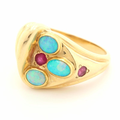 14K Yellow Gold Opal Doublet and Ruby Ring