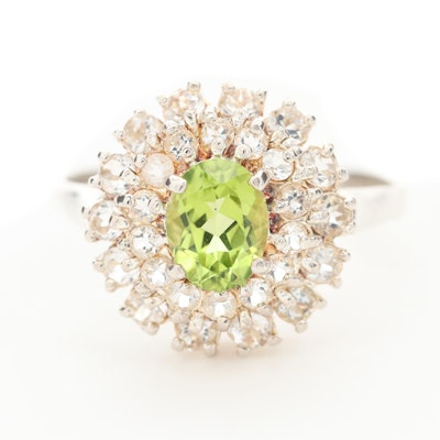 Sterling Silver Peridot and Topaz Double Halo Ring