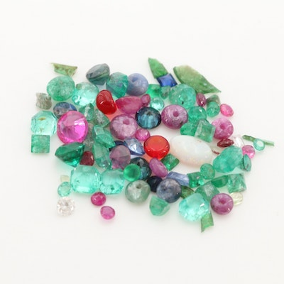 Loose 6.35 CTW Gemstone Assortment Including Emerald and Ruby