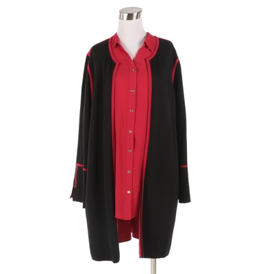 Chico's Red Button-Front Blouse and Black Open Front Cardigan with Red Trim