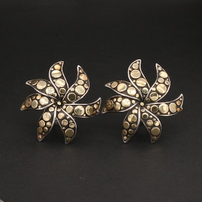 """John Hardy """"Ayu"""" Sterling Silver and 18K Yellow Gold Earrings"""