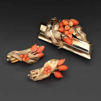 Circa 1930s 10K and 14K Yellow Gold Coral Brooches