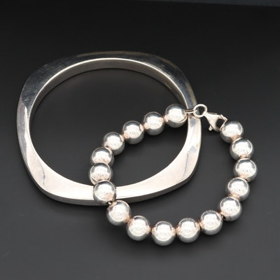 Sterling Silver Bangle and Beaded Bracelets