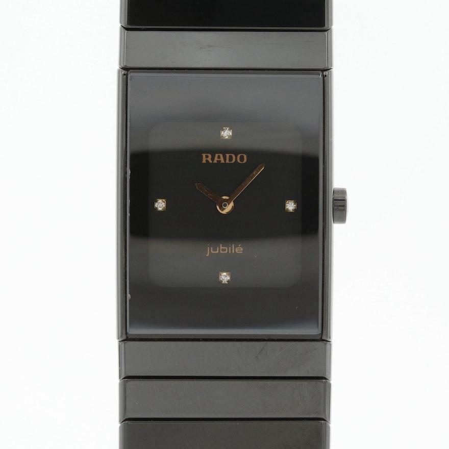 Rado Diastar Jubilé Ceramic and Stainless Steel Quartz Wristwatch With Diamonds