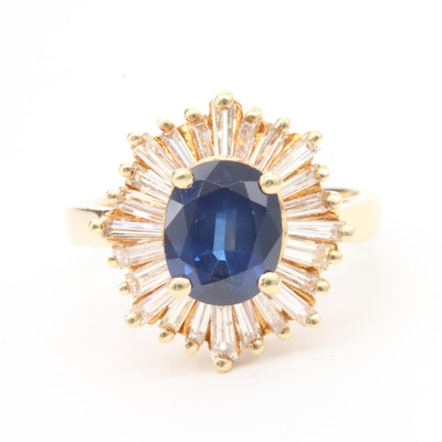 14K Yellow Gold Blue Sapphire and 1.00 CTW Diamond Ring