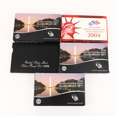 Five U.S. Mint Silver Proof Sets, 1998 to 2016