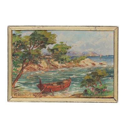 Raoul About Impasto Coastal Landscape Oil Painting