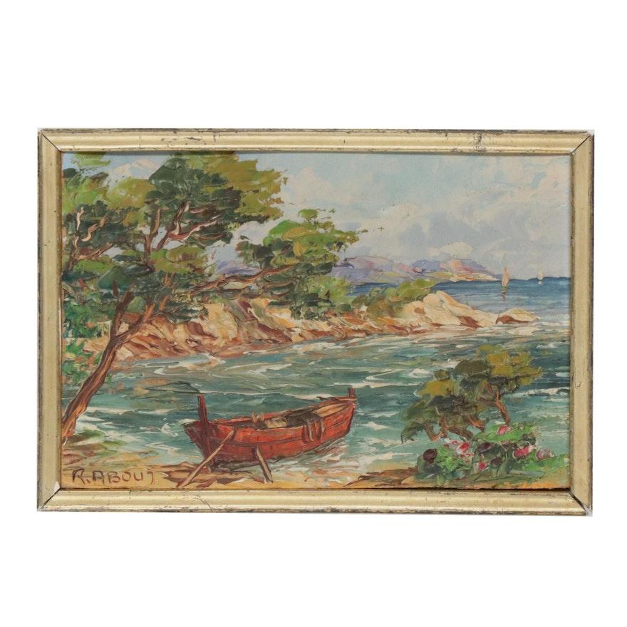Raoul About Impasto Coastal Landscape Oil Painting