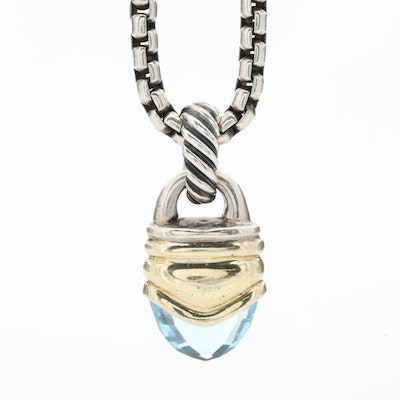 David Yurman Sterling Silver Topaz Pendant Necklace with 14K Yellow Gold Accents