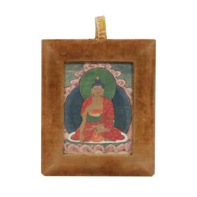 Tibetan Gouache Painting of Shakyamuni Buddha, Late 19th /Early 20th C.