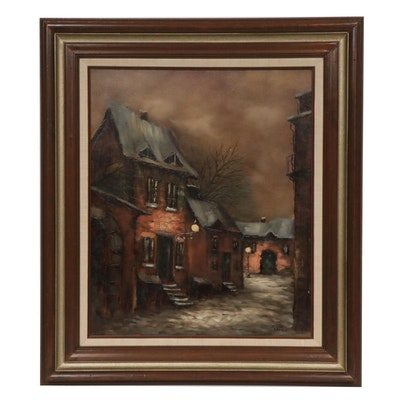 Foster Nocturne European Street Scene Oil Painting