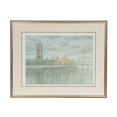Pointillist Style Color Lithograph of Palace of Westminster