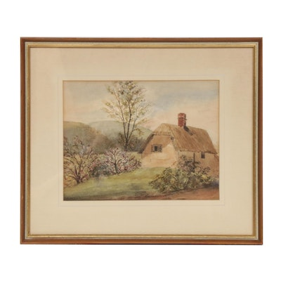 Mary Ann Tozer-Fellows-Church Rural Cottage Watercolor Painting