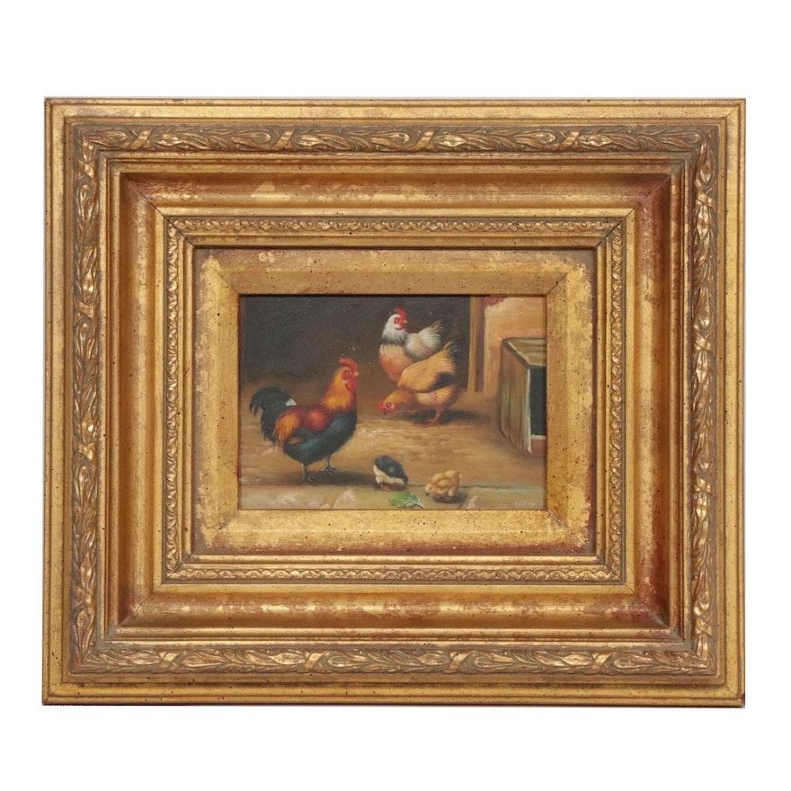 Barnyard Genre Oil Painting