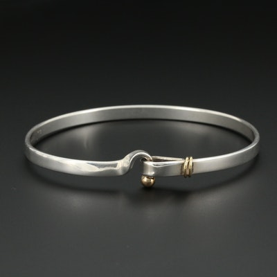 "Tiffany & Co Sterling ""Hook & Eye"" Bangle Bracelet 18K Accents with Pouch"