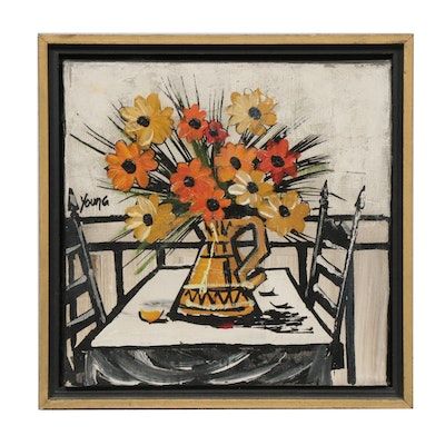 "Modernist Floral Still Life Acrylic Painting, Signed ""Young"""