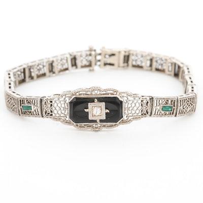 Art Deco 10K White Gold Diamond and Black Onyx Bracelet