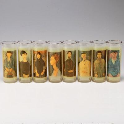 "Litho-Glass Vue-lon Ware ""Modigliani"" Encased Glass Tumblers"