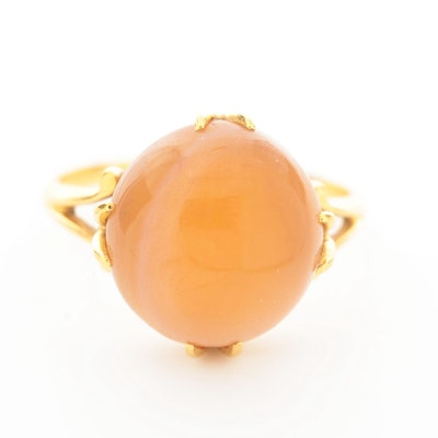 Vintage 18K Yellow Gold Agate Ring