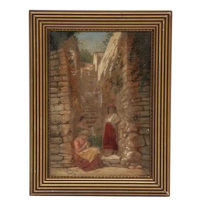 European Genre Oil Painting