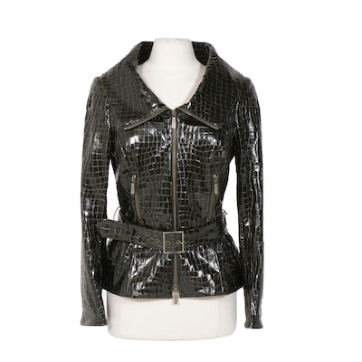 Worth Belted Motorcycle Jacket in Olive Green Croc Embossed Faux Patent Leather