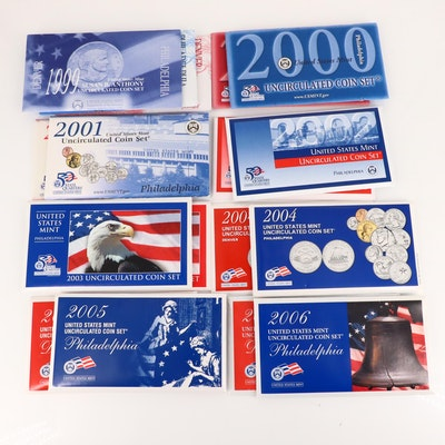 Nine U.S. Mint Uncirculated Sets, 1999 to 2006