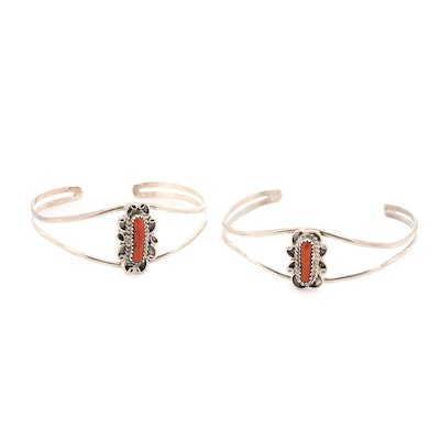 Sterling Silver Coral Cuff Bracelets