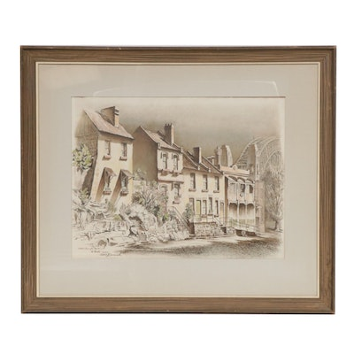 "Cedric Emanuel Mixed Media Drawing ""Old Houses Harrington Street"""