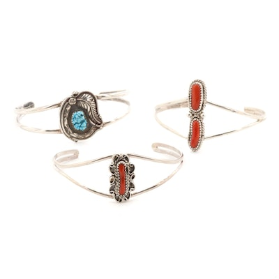 Sterling Silver Magnesite and Coral Cuffs