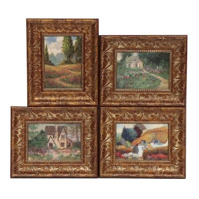Embellished Offset Lithographs after Landscape Paintings