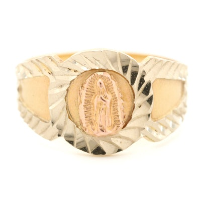14K Yellow, White and Gold Our Lady of Guadalupe Ring